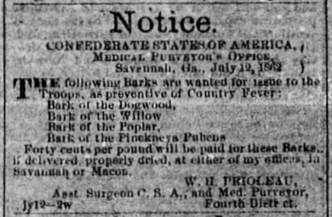 A Confederate States Army want ad for Georgia Fever bark ran in the Savannah Daily Morning News, July 19, 1862