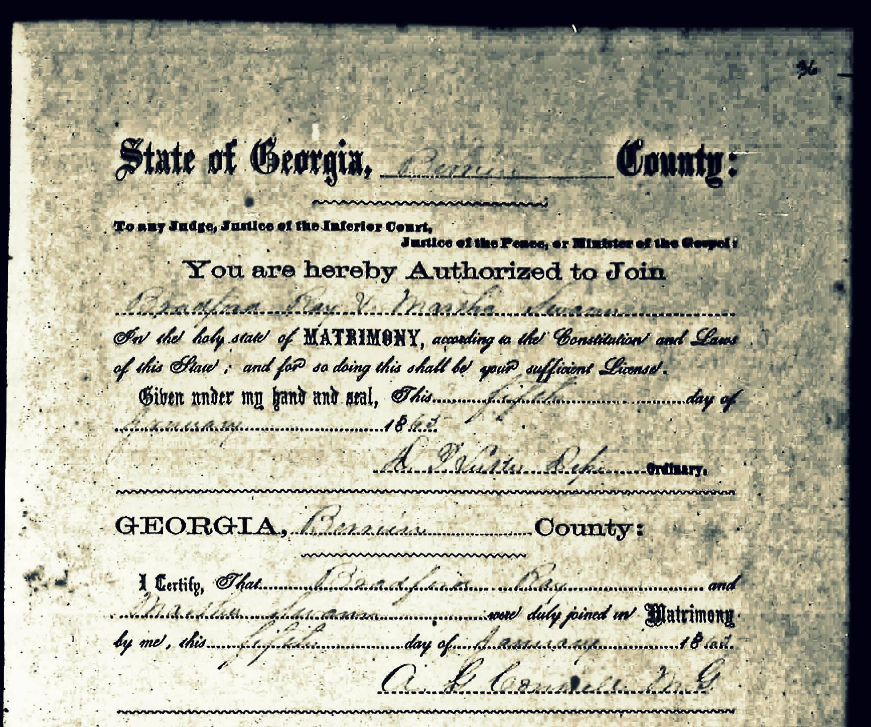 Flat creek church ray city history blog marriage certificate of bradford ray and martha swann january 5 1865 berrien county aiddatafo Choice Image