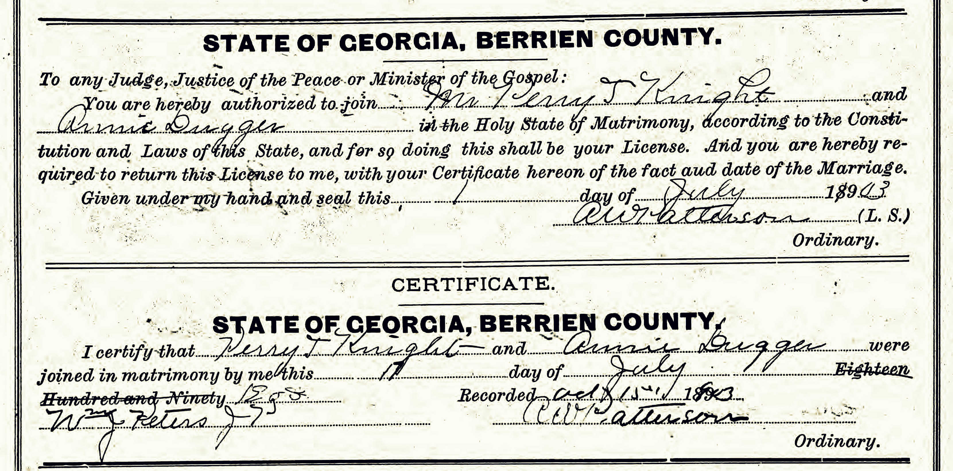 Rays mill georgia ray city history blog marriage certificate of perry thomas knight and ann dugger berrien county ga 1betcityfo Choice Image