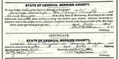 Marriage certificate of Perry Thomas Knight and Ann Dugger, Berrien County, GA