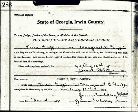 Marriage Certificate of Lester Griffin and Mary Elizabeth Griffin, Irwin County, GA