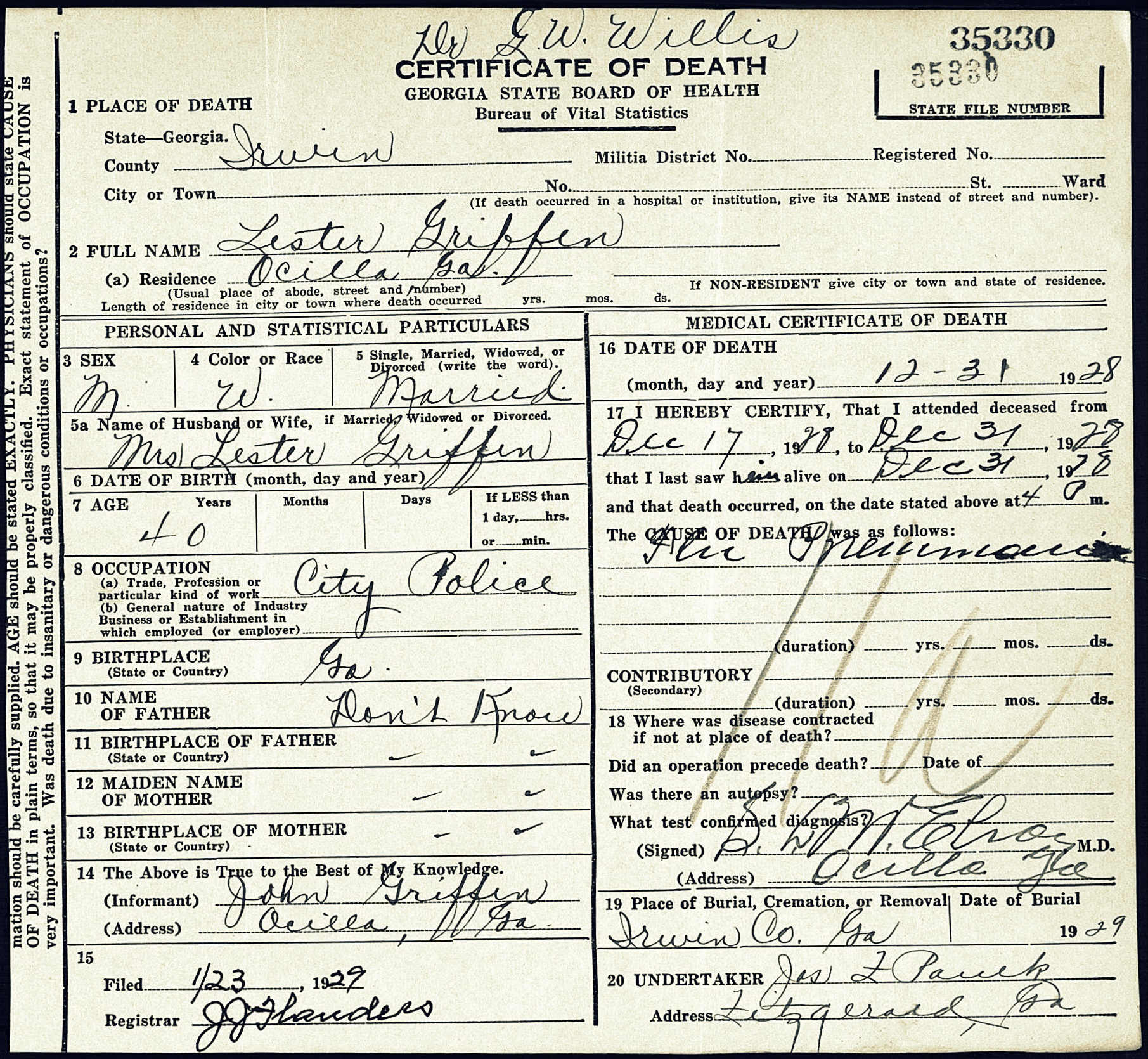Mary elizabeth carroll ray city history blog death certificate of lester griffin irwin county ga image courtesy of alan k aiddatafo Gallery