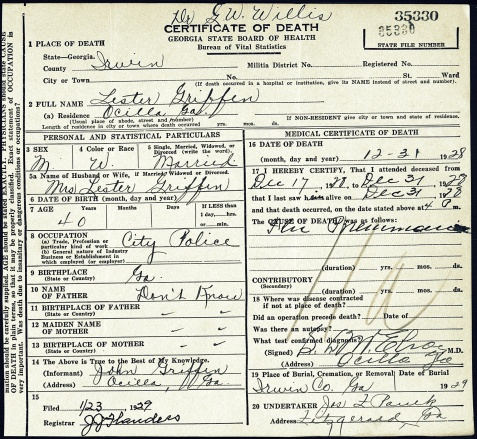 Death Certificate of Lester Griffin, Irwin County, GA.  Image courtesy of Alan K. Griffin.