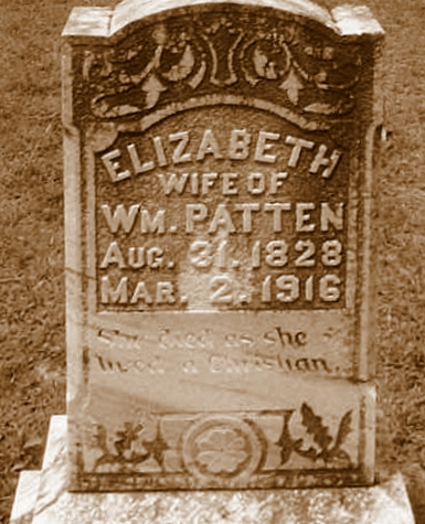 Grave of Elizabeth Register Patten, Union Church Cemetery, Lakeland, GA