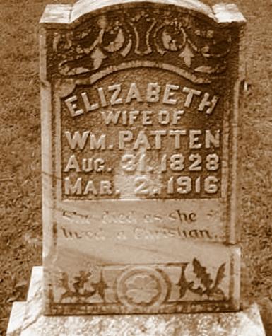Grave of Elizabeth Register Patten, Union Church Cemetery, Lakeland, GA