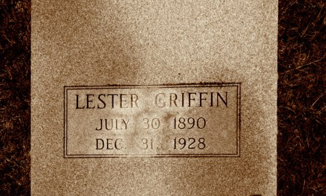 Grave of Lester Griffin (1890 -  1928), Brushy Creek Cemetery, Berrien County, GA