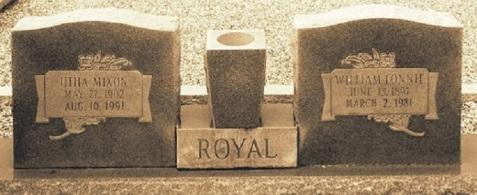 Graves of Lonnie Royal and Utha Mixon, Fender Cemetery, Lanier County, GA
