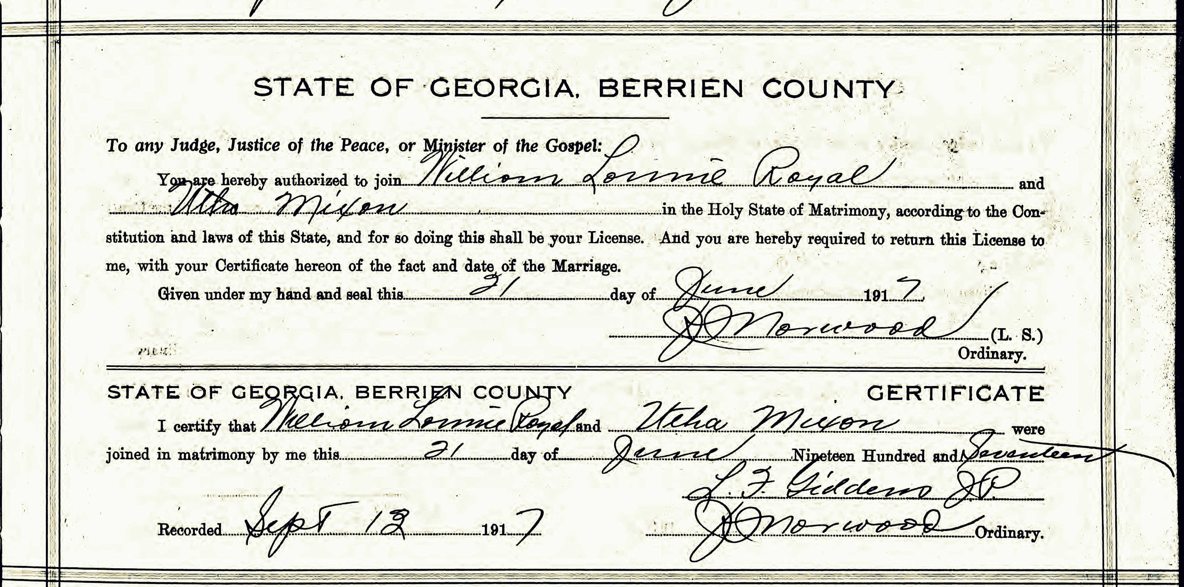 July 2014 ray city history blog marriage certificate of william lonnie royal and utha mixon berrien county ga aiddatafo Images