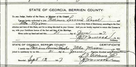 Marriage Certificate of William Lonnie Royal and Utha Mixon, Berrien County, GA