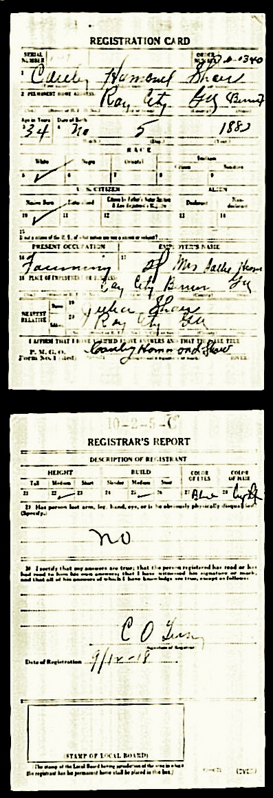 1918 Draft Registration for Cauley Hammond Shaw.