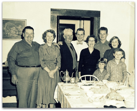 "Family of Cauley Hammond Shaw , circa 1953. Left to right John Henry ""J.H."" Peterson, Hazel Annie Shaw Peterson, Cauley Hammond Shaw, James Russell Peterson, Juliah Peters Shaw, Benajah Peterson, Mary Juliah Peterson. Front row: Sue Ellen Peterson, John Hammond ""Pete"" Peterson. Photo courtesy of Susie Peterson and www.berriencountyga.com"