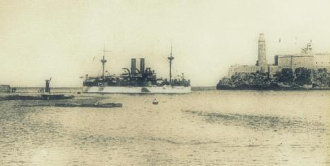 USS Maine as she entered Havana harbor, Cuba, on 25 January 1898. She was destroyed by explosion there some three weeks later, on 15 February. Image source: http://www.history.navy.mil/photos/events/spanam/events/maineskg.htm