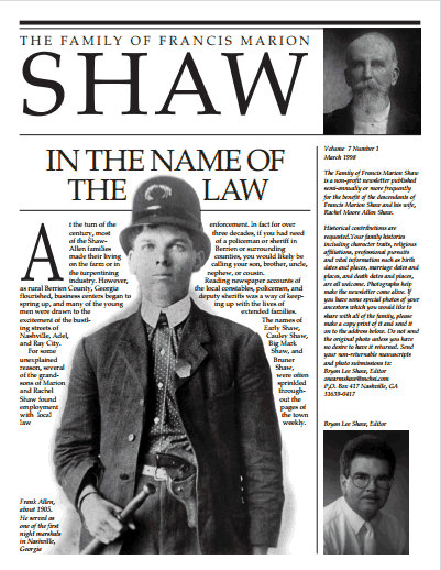 Shaw Family Newsletter: In the Name of the Law