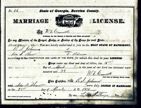 Marriage certificate of Richard Seward Johnson and Ida Shaw