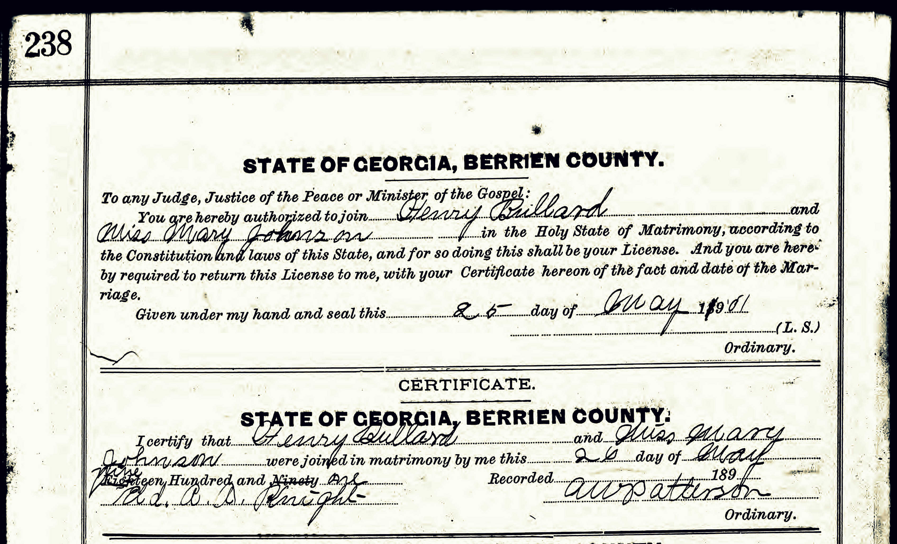 Berrien light infantry ray city history blog marriage certificate of henry needham bullard and miss mary johnson berrien county ga 1betcityfo Choice Image