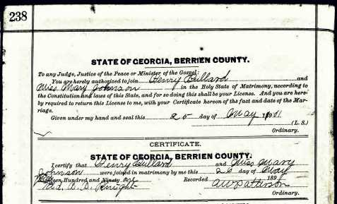 Marriage certificate of Henry Needham Bullard and Miss Mary Johnson, Berrien County, GA, May 25, 1901.