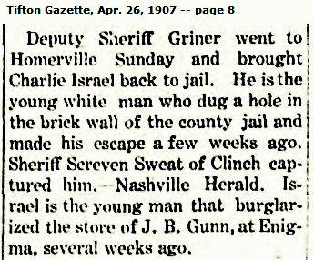 Sheriff Jim Griner and Charlie Israel, 1907
