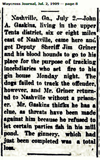 Sheriff Jim Griner calls out the bloodhounds, 1909.