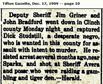 Deputy Sheriff Jim Griner captures John Bradford, 1909