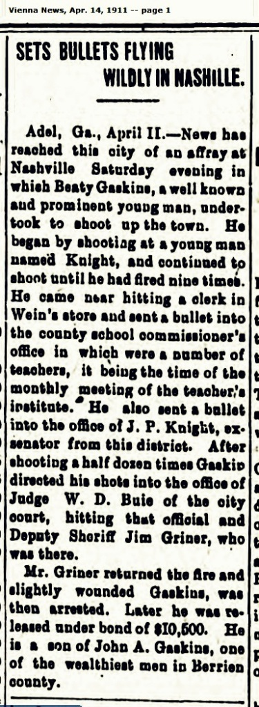 Sheriff Jim Griner in shootout with Beaty Gaskins, 1911