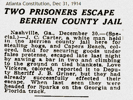 Prisoners escape Deputy Jim Griner, 1914
