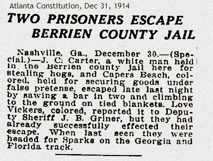 Prisoners escape Deputy Jim Griner, 1914