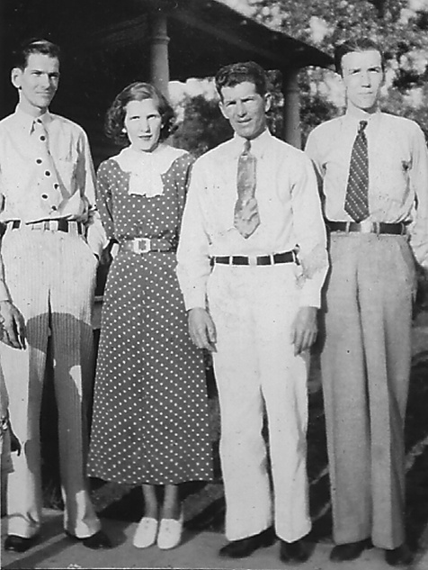 Children of Henry Needham Bul lard and Mary Johnson.   Left to right:  Russell Aubrey Bullard, Ida Lou Bullard Waits, Alton Parham Bullard, and  Woodrow Wilson Bullard. Image provided by Aubrey Bullard. All rights reserved.