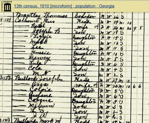 1910 census enumeration of James Dewey Calhoun