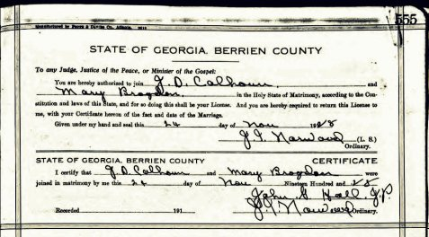 Marriage certificate of J. D. Calhoun and Mary Brogdon, November 24, 1928, Berrien County, Georgia