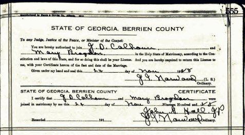 Marriage certificate of J. D. Calhoun and Mary Brogdon, November 24, 1928, Berrien County, Georgia