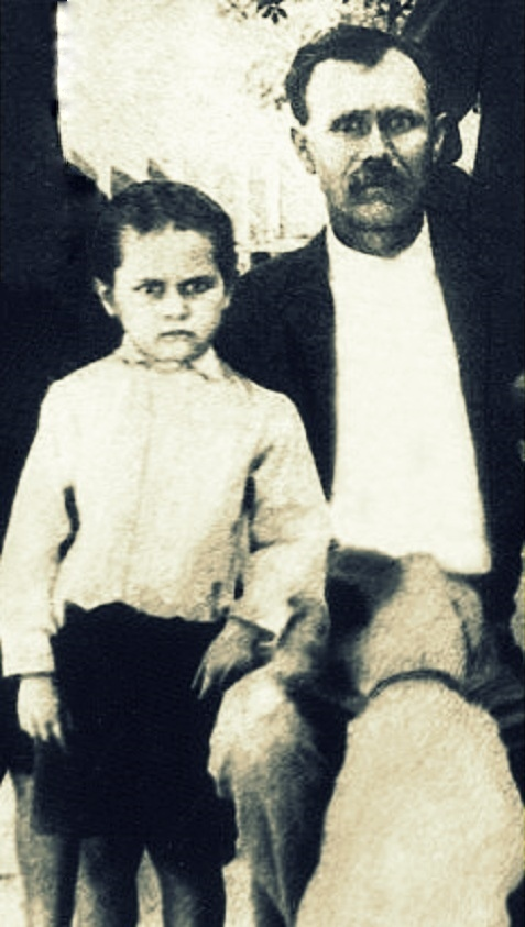 "James Dewey Calhoun as a young boy with his father, Samuel Augustus ""Gus"" Calhoun. Image detail courtesy of Mitchell Calhoun."