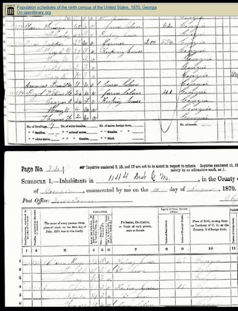 Pages 91-92 of the 1870 Census of Berrien County, GA showing the adjacent households of Blansett Boyd Tison & Henry Tison; Jasper Tison; William H. Boyd & wife Georgia with sons Henry H Boyd and Thomas Boyd; and Mary Boyd Chapman with daughters Mary A C Chapman and Cressey Chapman.
