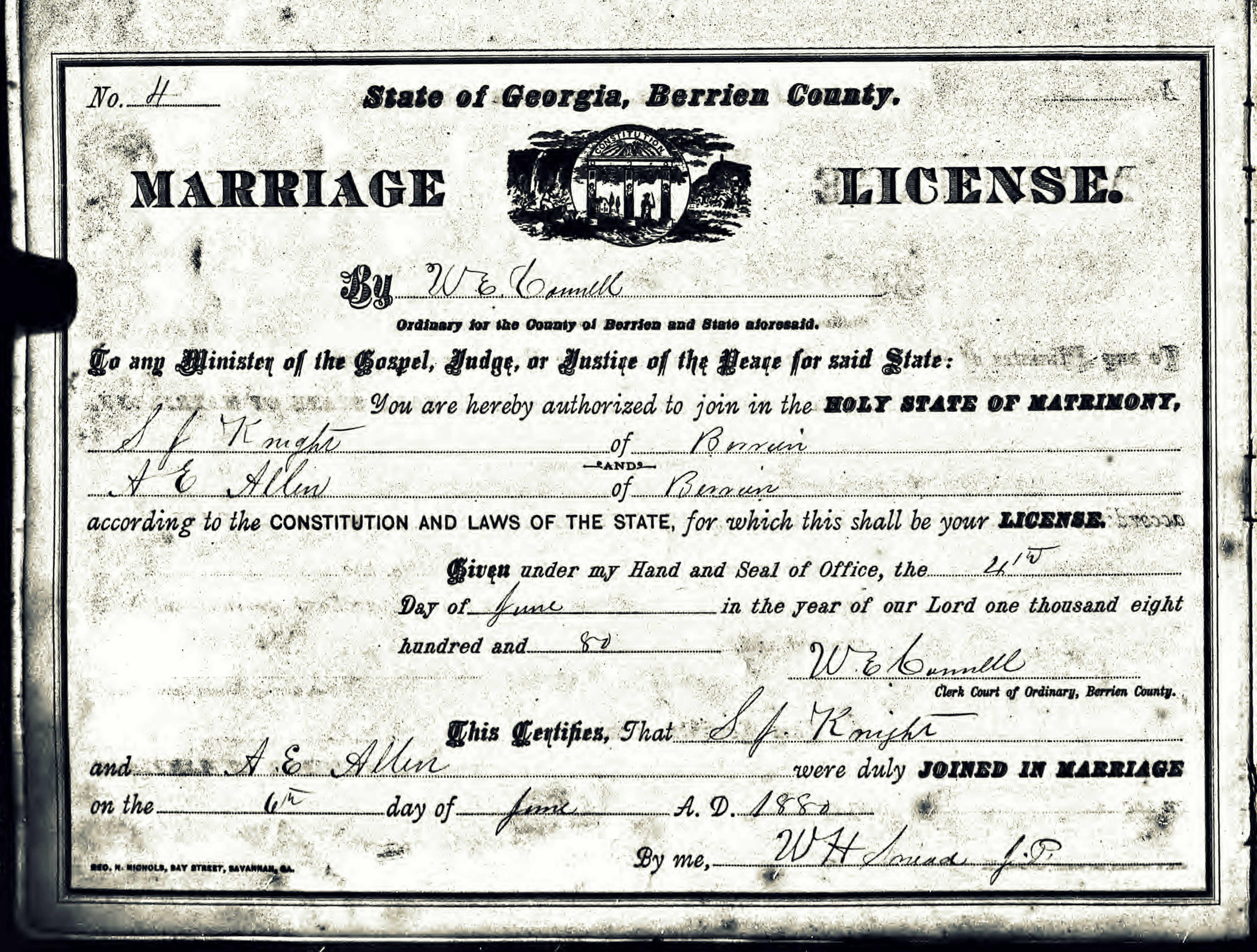 Shaw family ray city history blog 1880 sullivan j knight marr cert aiddatafo Choice Image