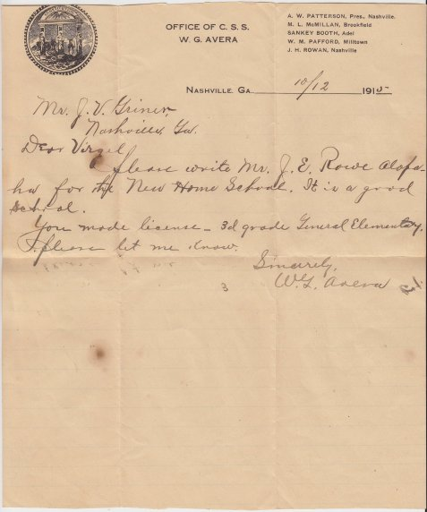 1915 letter from Berrien County School Superintendent William Green Avera to James Virgil Griner