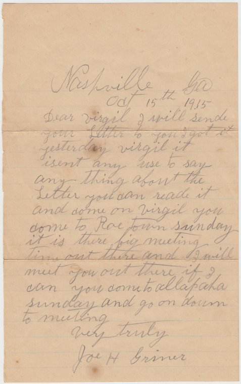 Letter from Joe H. Griner to Virgil Griner, dated October 15, 1915