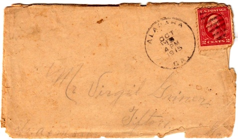 Envelop of letter from Joe H. Griner to Virgil Griner, postmarked October 15, 1915, Alapaha, GA