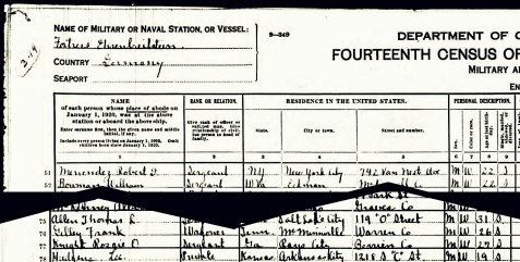 1920 census enumeration of Rossie O. Knight while stationed in Germany