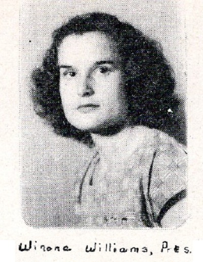Yearbook portrait of Winona Williams, Ray City School, Class of 1949, Class President