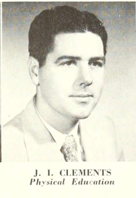 J. I. Clements served on the faculty and coached at Georgia Teachers College ,now Georgia Southern University, in 1952.
