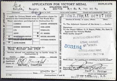 Rossie O. Knight Application for Victory Medal, WWI