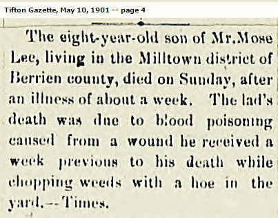 Rema Lee, son of Moses Lee and Amanda Clements, died of blood poisoning in 1901.