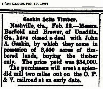 John A. Gaskins sells timber, 1904