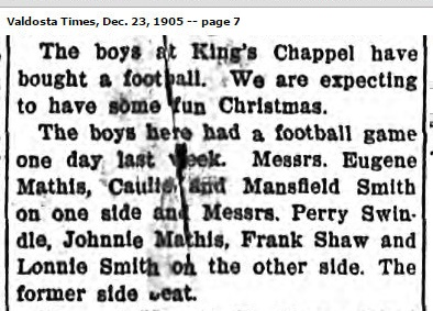 Boys at Kings Chapel School play football. Valdosta Times,  December 23, 1905