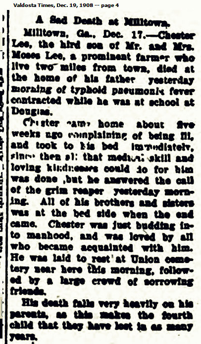 1908 Obituary of Chester Lee, son of Moses Lee and Amanda Clements