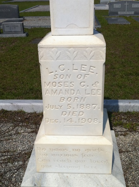 Grave marker of L. Chester Lee, Union Cemetery, Lanier County, GA. Image source: Tonya Studstill Long
