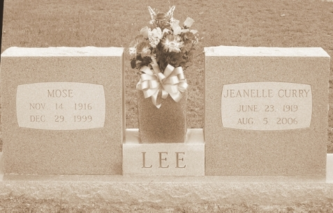 Grave of Mose Clements Lee and Jeanelle Lee