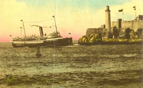 SS Cuba at Morrow Castle (Castillo de los Tres Reyes Magos del Morro) entering Havana Harbor