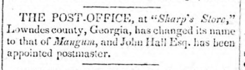 Milledgeville Federal Union, Apr. 28, 1836.