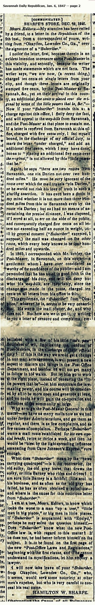 Sharpe's Store, December 28, 1846