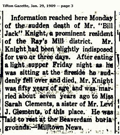 Obituary of William J. Knight, husband of Sarah Malinda Clements